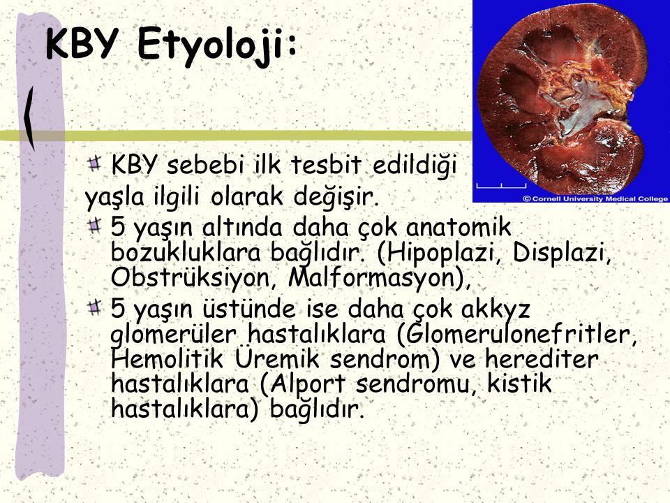 KBY'de Tedavi: KBY'Ii hastalarda büyümek için protein gereksinimi olduğundan biyoyararlanımı yüksek proteinli diyet verilir.
