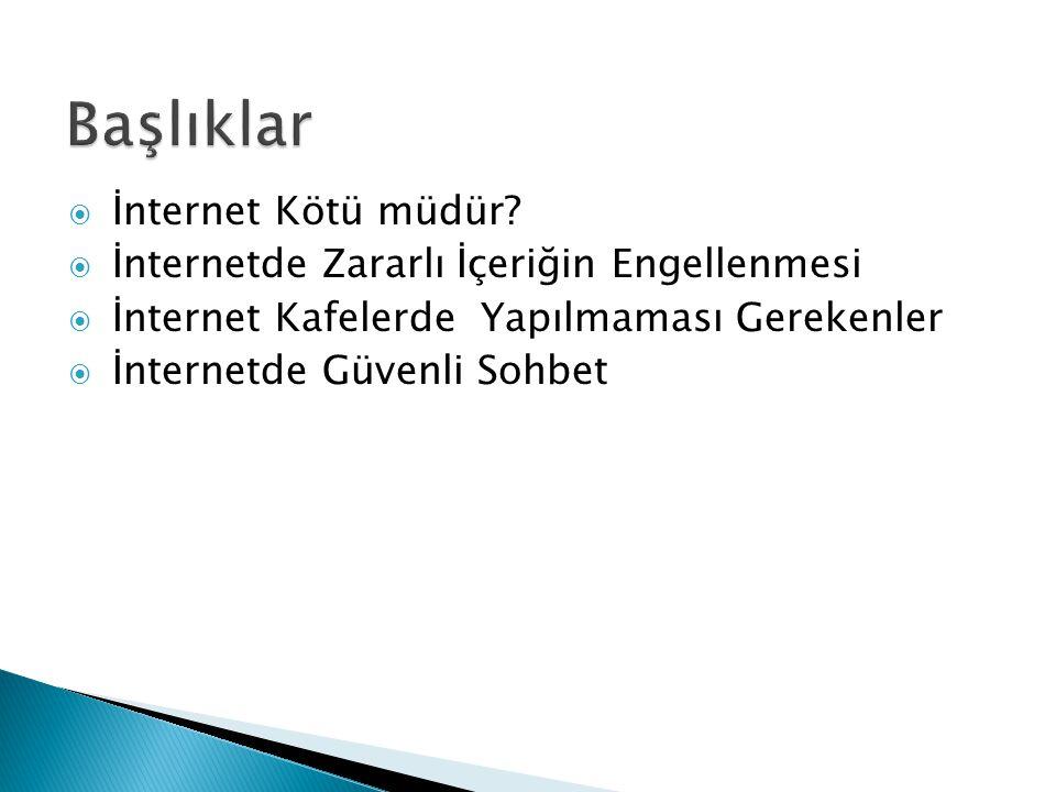  İnternet Kötü müdür?  İnternetde Zararlı İçeriğin Engellenmesi  İnternet Kafelerde Yapılmaması Gerekenler  İnternetde Güvenli Sohbet