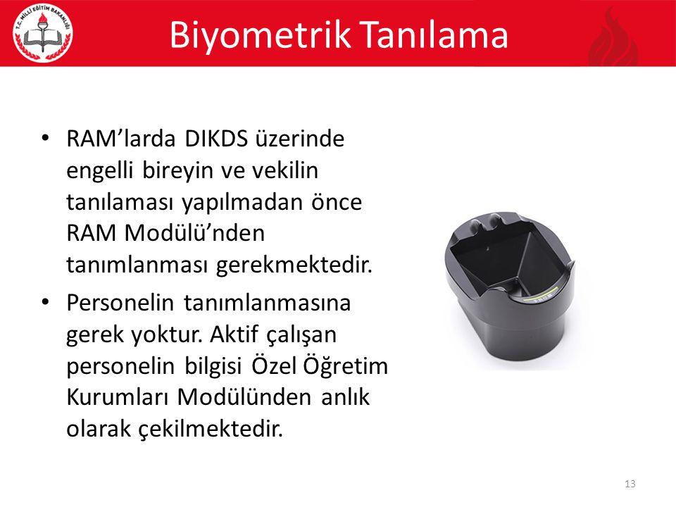 Biyometrik Tanılama RAM'larda DIKDS üzerinde engelli bireyin ve vekilin tanılaması yapılmadan önce RAM Modülü'nden tanımlanması gerekmektedir. Persone