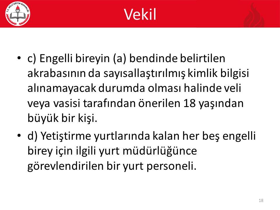 Vekil c) Engelli bireyin (a) bendinde belirtilen akrabasının da sayısallaştırılmış kimlik bilgisi alınamayacak durumda olması halinde veli veya vasisi