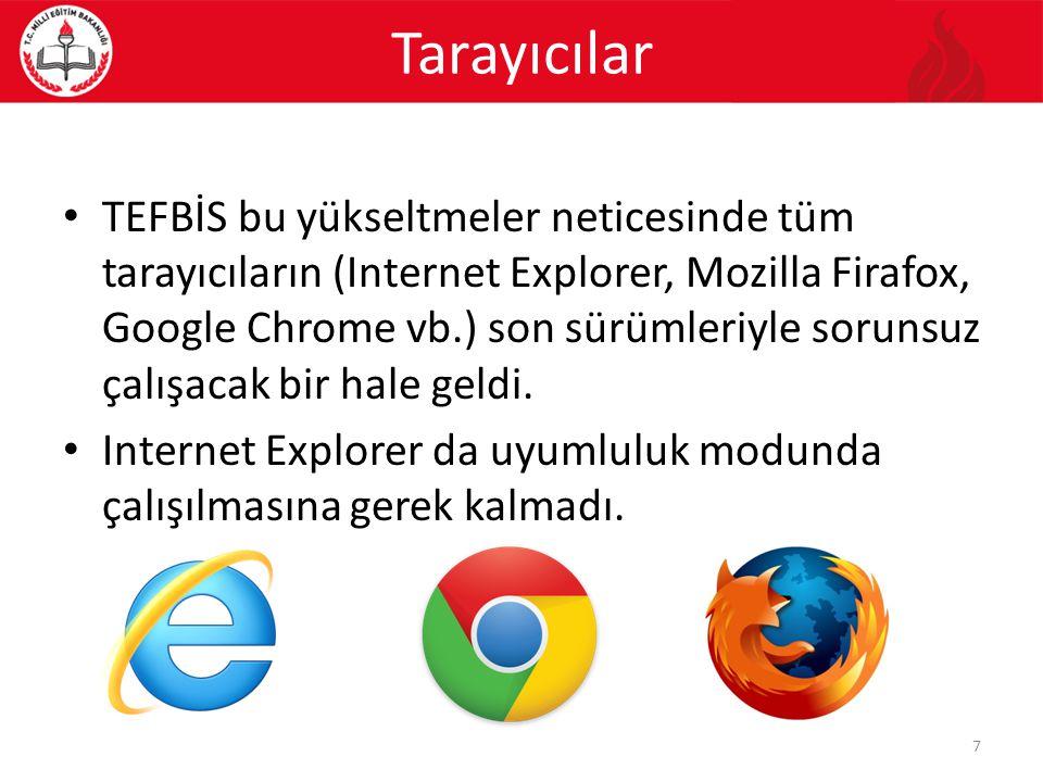 Tarayıcılar TEFBİS bu yükseltmeler neticesinde tüm tarayıcıların (Internet Explorer, Mozilla Firafox, Google Chrome vb.) son sürümleriyle sorunsuz çal