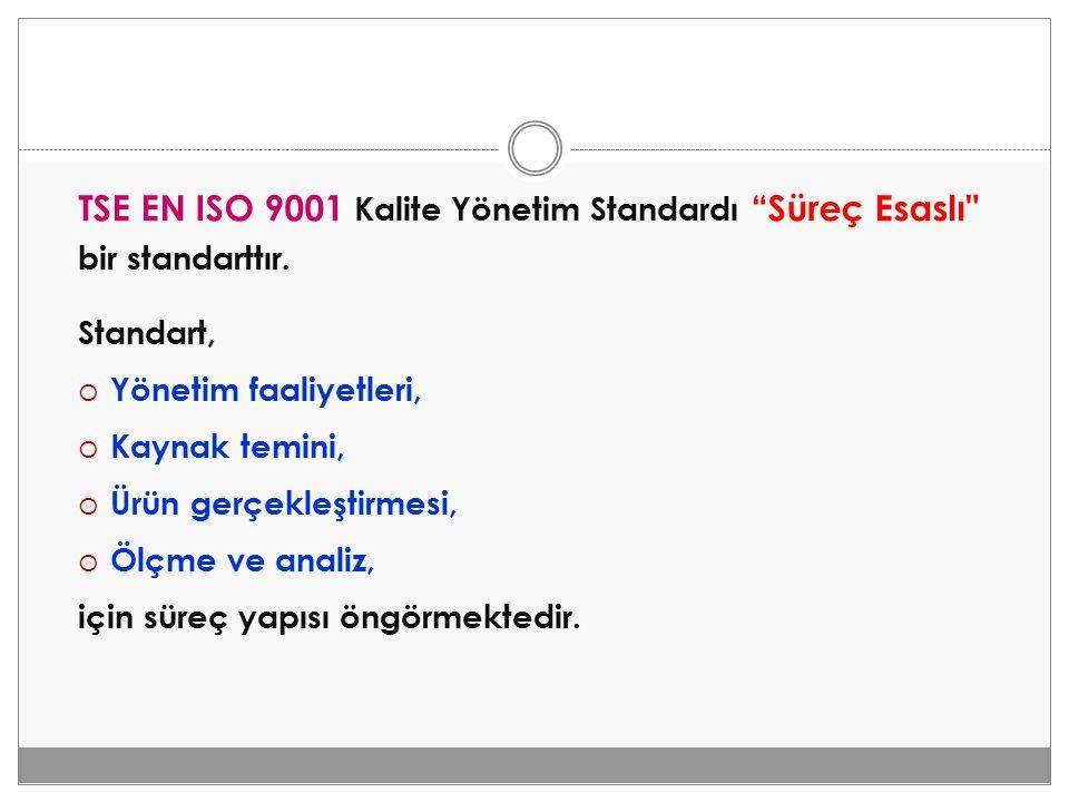"""TSE EN ISO 9001 Kalite Yönetim Standardı """"Süreç Esaslı"""