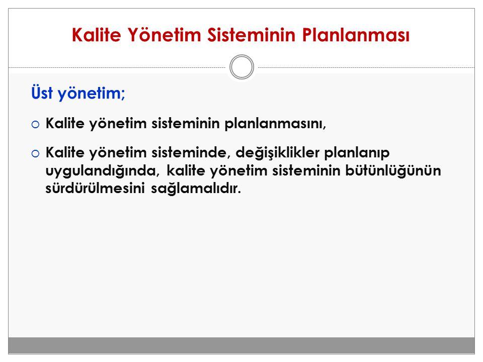 Kalite Yönetim Sisteminin Planlanması Üst yönetim;  Kalite yönetim sisteminin planlanmasını,  Kalite yönetim sisteminde, değişiklikler planlanıp uyg