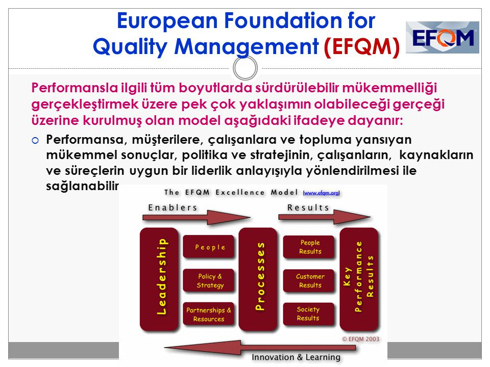 European Foundation for Quality Management (EFQM) Performansla ilgili tüm boyutlarda sürdürülebilir mükemmelliği gerçekleştirmek üzere pek çok yaklaşı