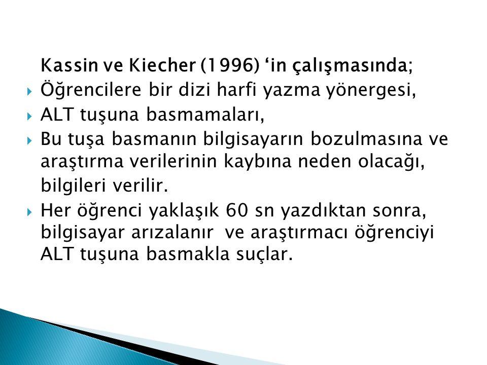 Kassin ve Kiecher (1996) 'in çalışmasında;  Öğrencilere bir dizi harfi yazma yönergesi,  ALT tuşuna basmamaları,  Bu tuşa basmanın bilgisayarın bozulmasına ve araştırma verilerinin kaybına neden olacağı, bilgileri verilir.