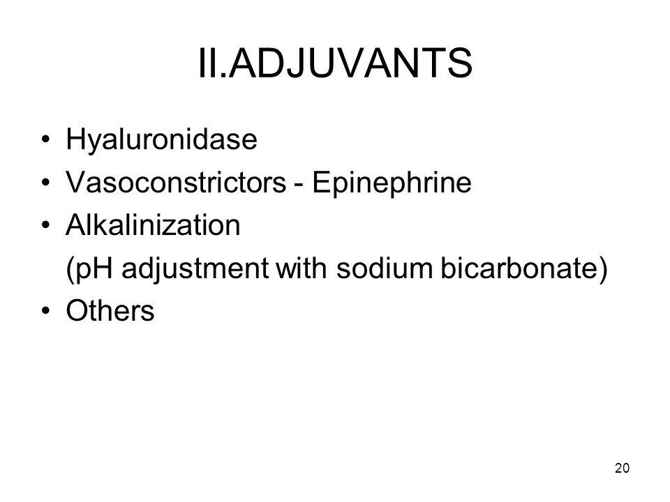 20 II.ADJUVANTS Hyaluronidase Vasoconstrictors - Epinephrine Alkalinization (pH adjustment with sodium bicarbonate) Others