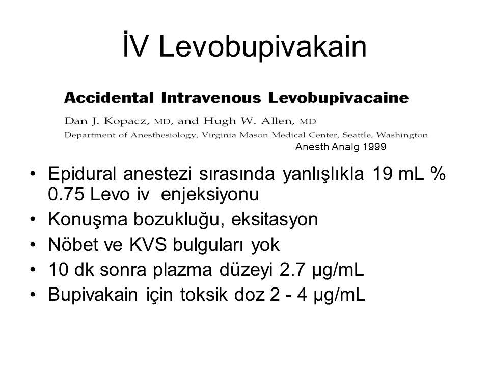İV Levobupivakain Epidural anestezi sırasında yanlışlıkla 19 mL % 0.75 Levo iv enjeksiyonu Konuşma bozukluğu, eksitasyon Nöbet ve KVS bulguları yok 10