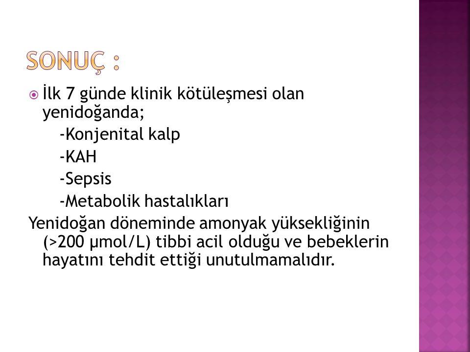  İlk 7 günde klinik kötüleşmesi olan yenidoğanda; -Konjenital kalp -KAH -Sepsis -Metabolik hastalıkları Yenidoğan döneminde amonyak yüksekliğinin (>2