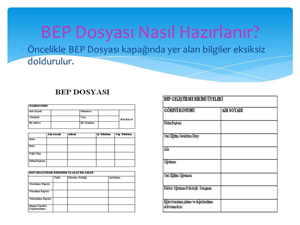 Öncelikle BEP Dosyası kapağında yer alan bilgiler eksiksiz doldurulur. BEP Dosyası Nasıl Hazırlanır?