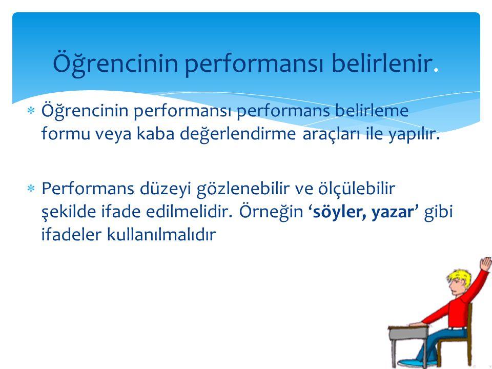  Öğrencinin performansı performans belirleme formu veya kaba değerlendirme araçları ile yapılır.  Performans düzeyi gözlenebilir ve ölçülebilir şeki