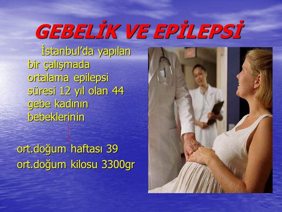 GEBELİK VE EPİLEPSİ GEBELİK VE EPİLEPSİ İstanbul'da yapılan bir çalışmada ortalama epilepsi süresi 12 yıl olan 44 gebe kadının bebeklerinin İstanbul'd