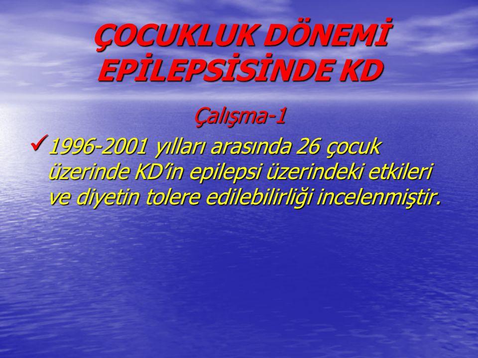 ÇOCUKLUK DÖNEMİ EPİLEPSİSİNDE KD Çalışma-1 1996-2001 yılları arasında 26 çocuk üzerinde KD'in epilepsi üzerindeki etkileri ve diyetin tolere edilebili