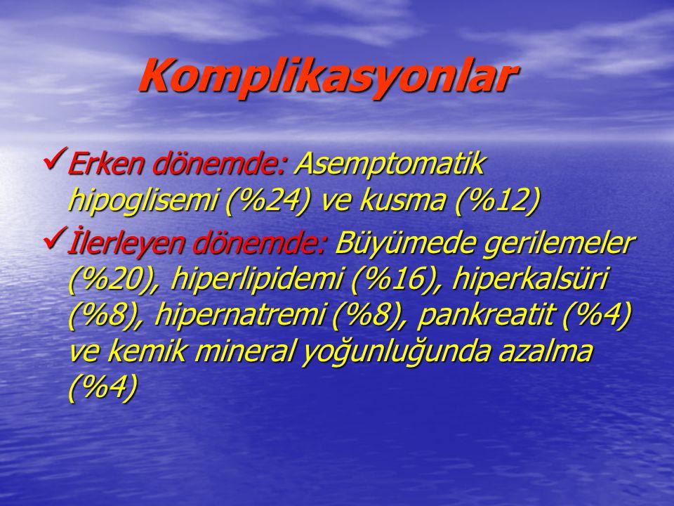 Komplikasyonlar Erken dönemde: Asemptomatik hipoglisemi (%24) ve kusma (%12) Erken dönemde: Asemptomatik hipoglisemi (%24) ve kusma (%12) İlerleyen dö