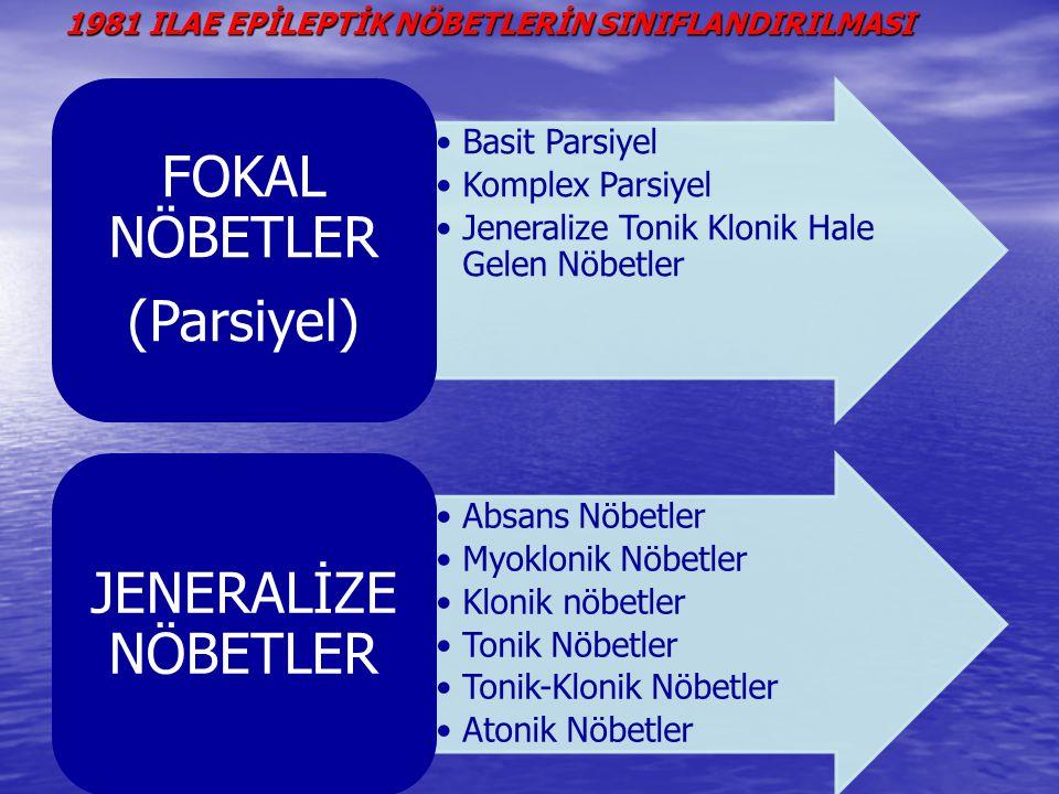 FOKAL NÖBETLER(PARSİYEL): Beynin sınırlı bir bölgesindeki nöronların aktivasyonudur.