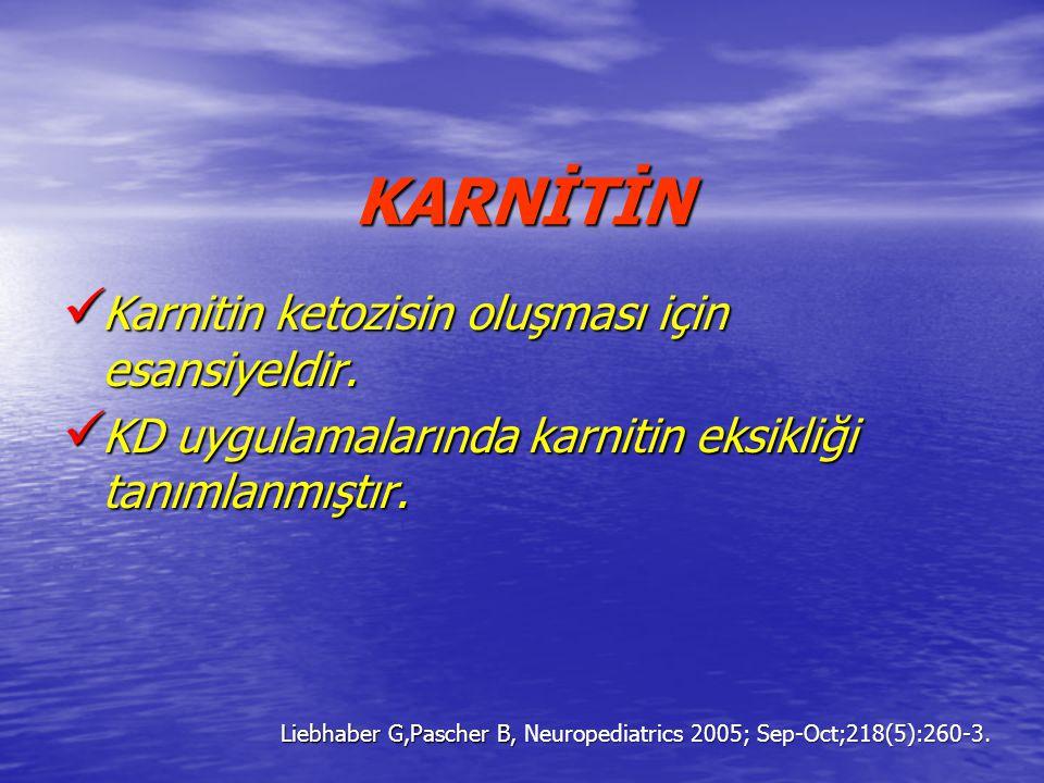 KARNİTİN Karnitin ketozisin oluşması için esansiyeldir. Karnitin ketozisin oluşması için esansiyeldir. KD uygulamalarında karnitin eksikliği tanımlanm