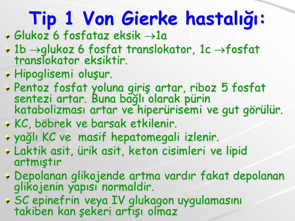 Tip 1 Von Gierke hastalığı: Glukoz 6 fosfataz eksik  1a 1b  glukoz 6 fosfat translokator, 1c  fosfat translokator eksiktir.