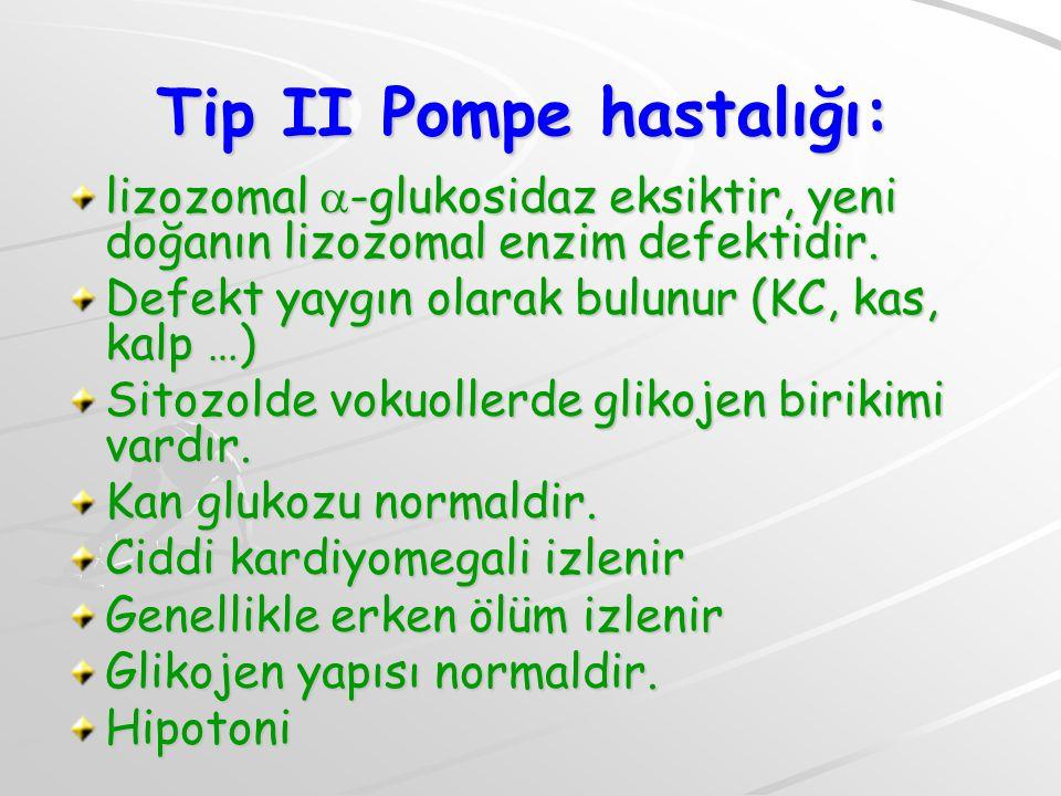 Tip II Pompe hastalığı: lizozomal  -glukosidaz eksiktir, yeni doğanın lizozomal enzim defektidir. Defekt yaygın olarak bulunur (KC, kas, kalp …) Sito