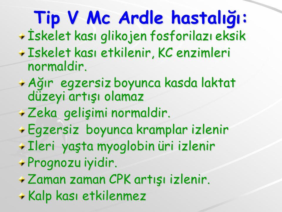 Tip V Mc Ardle hastalığı: İskelet kası glikojen fosforilazı eksik Iskelet kası etkilenir, KC enzimleri normaldir. Ağır egzersiz boyunca kasda laktat d