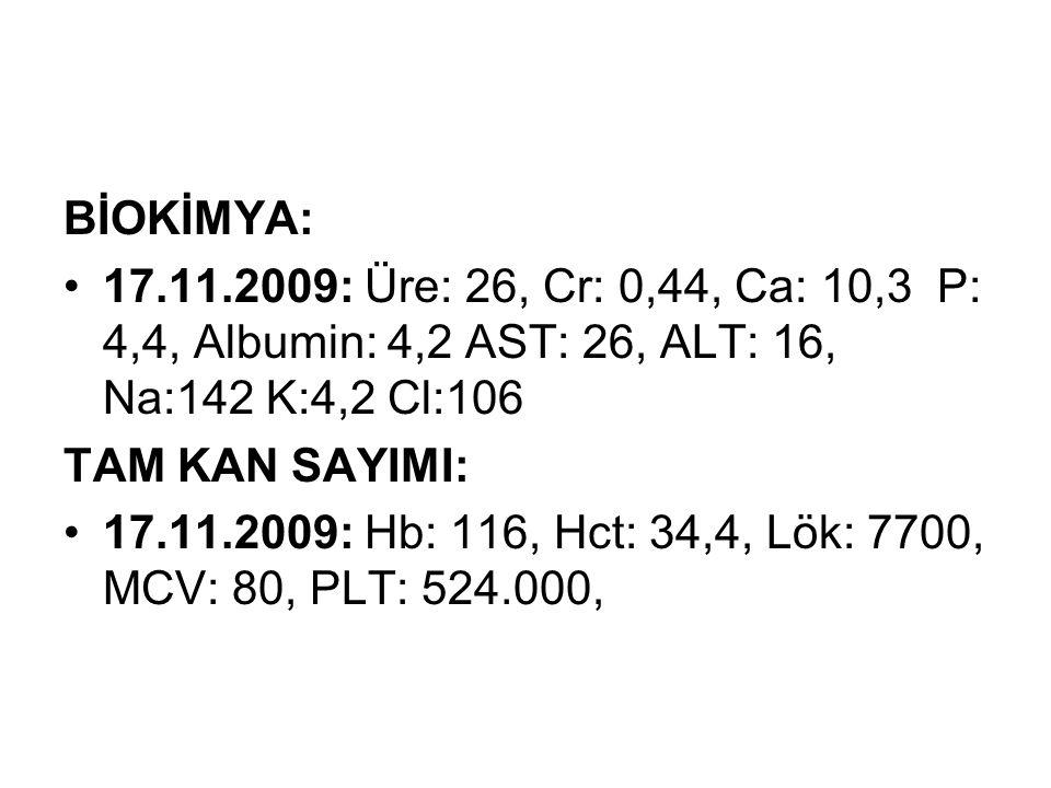 TAM İDRAR TAHLİLİ: 17.11.09: pH: 6, Dan:1010, Prot (-), Glu (-), Erit (+), nit (-).