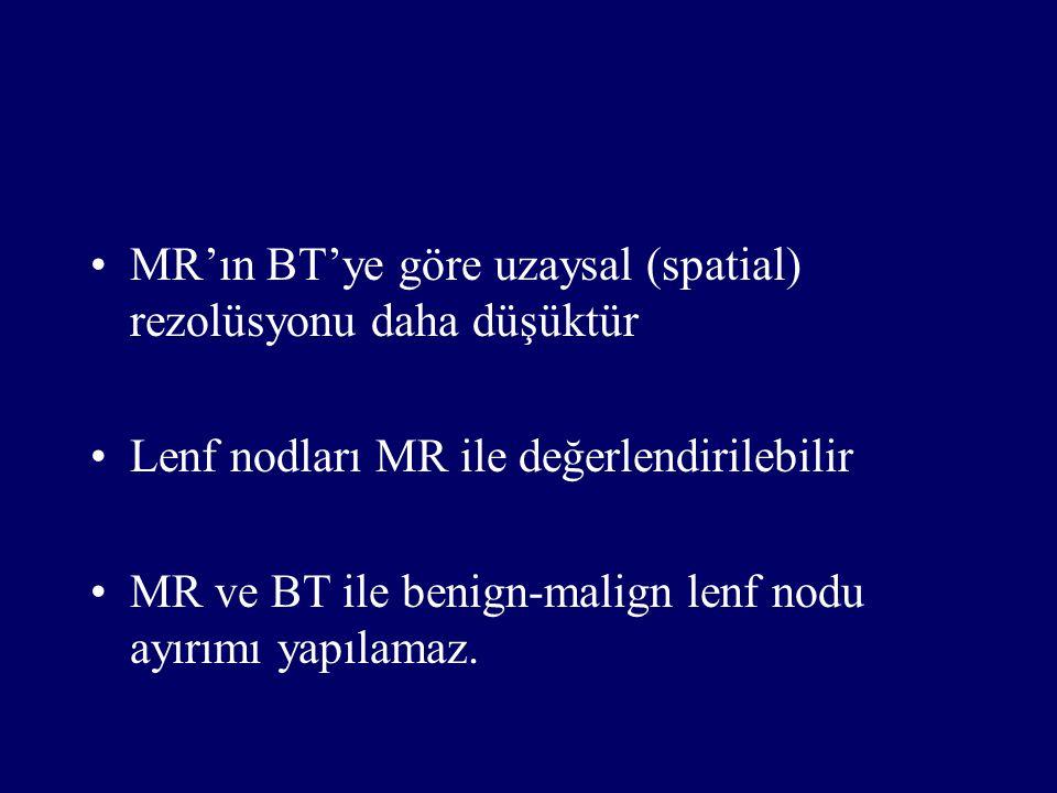 MR'ın BT'ye göre uzaysal (spatial) rezolüsyonu daha düşüktür Lenf nodları MR ile değerlendirilebilir MR ve BT ile benign-malign lenf nodu ayırımı yapı