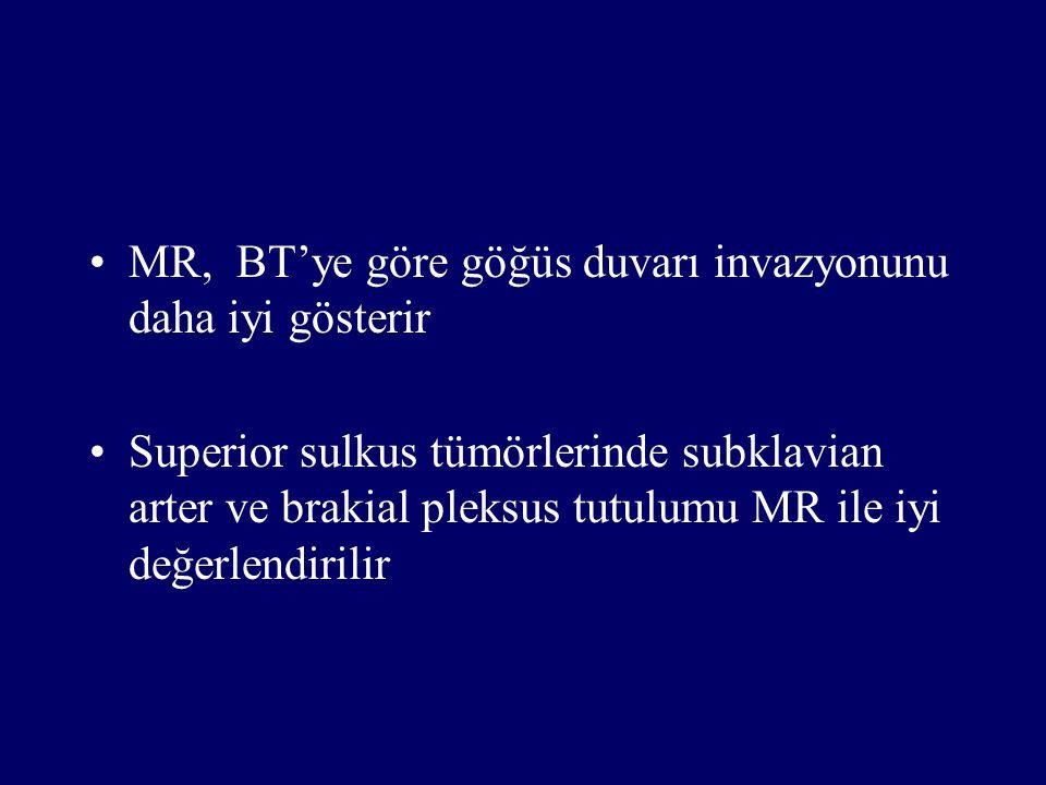 MR, BT'ye göre göğüs duvarı invazyonunu daha iyi gösterir Superior sulkus tümörlerinde subklavian arter ve brakial pleksus tutulumu MR ile iyi değerle
