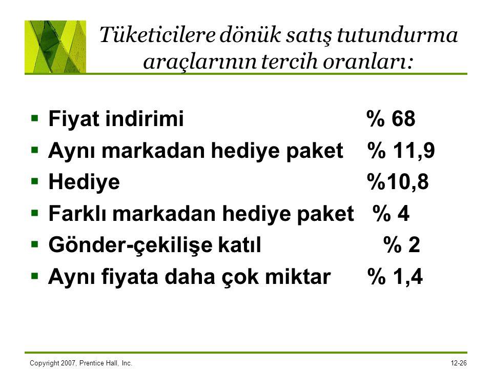 Tüketicilere dönük satış tutundurma araçlarının tercih oranları:  Fiyat indirimi % 68  Aynı markadan hediye paket % 11,9  Hediye %10,8  Farklı mar