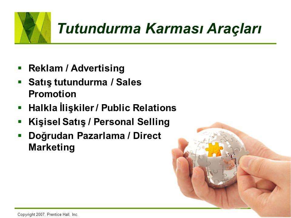 Tutundurma Karması Araçları  Reklam / Advertising  Satış tutundurma / Sales Promotion  Halkla İlişkiler / Public Relations  Kişisel Satış / Person