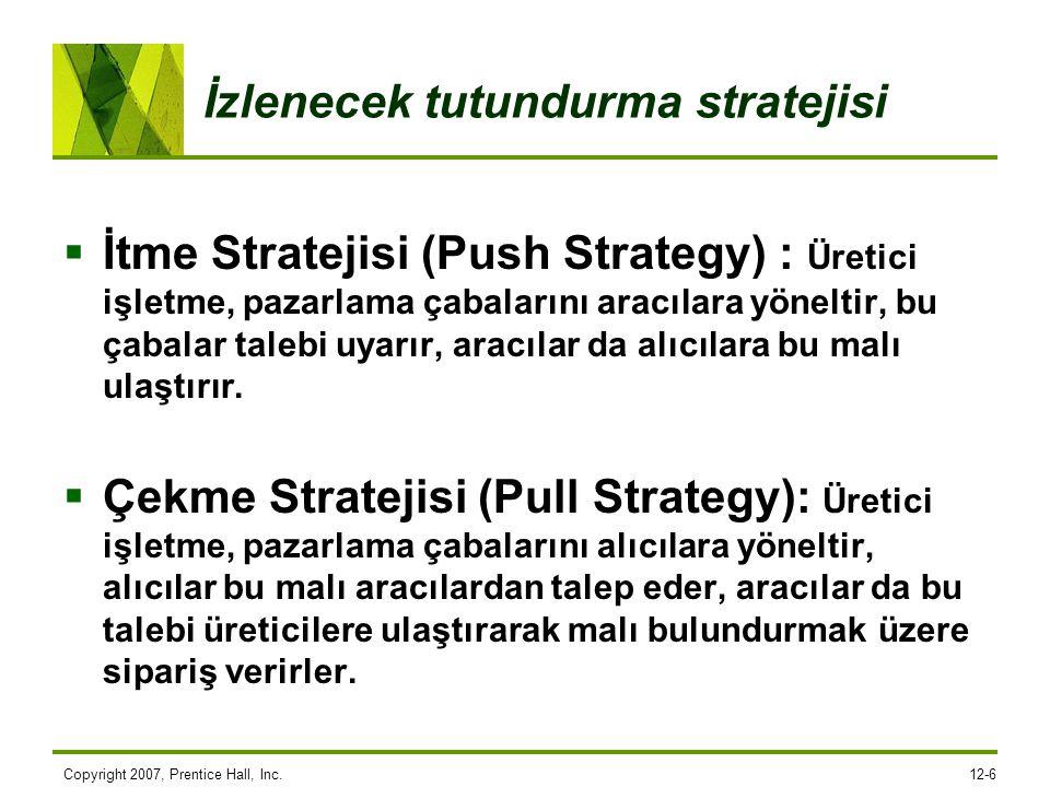 İzlenecek tutundurma stratejisi  İtme Stratejisi (Push Strategy) : Üretici işletme, pazarlama çabalarını aracılara yöneltir, bu çabalar talebi uyarır