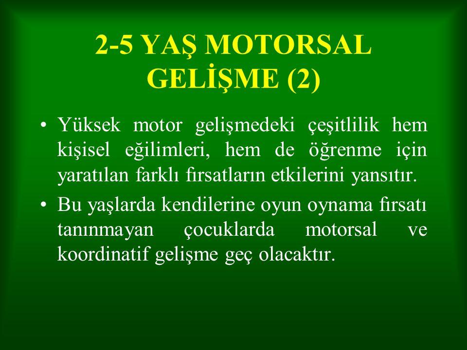 2-5 YAŞ MOTORSAL GELİŞME (2) Yüksek motor gelişmedeki çeşitlilik hem kişisel eğilimleri, hem de öğrenme için yaratılan farklı fırsatların etkilerini y