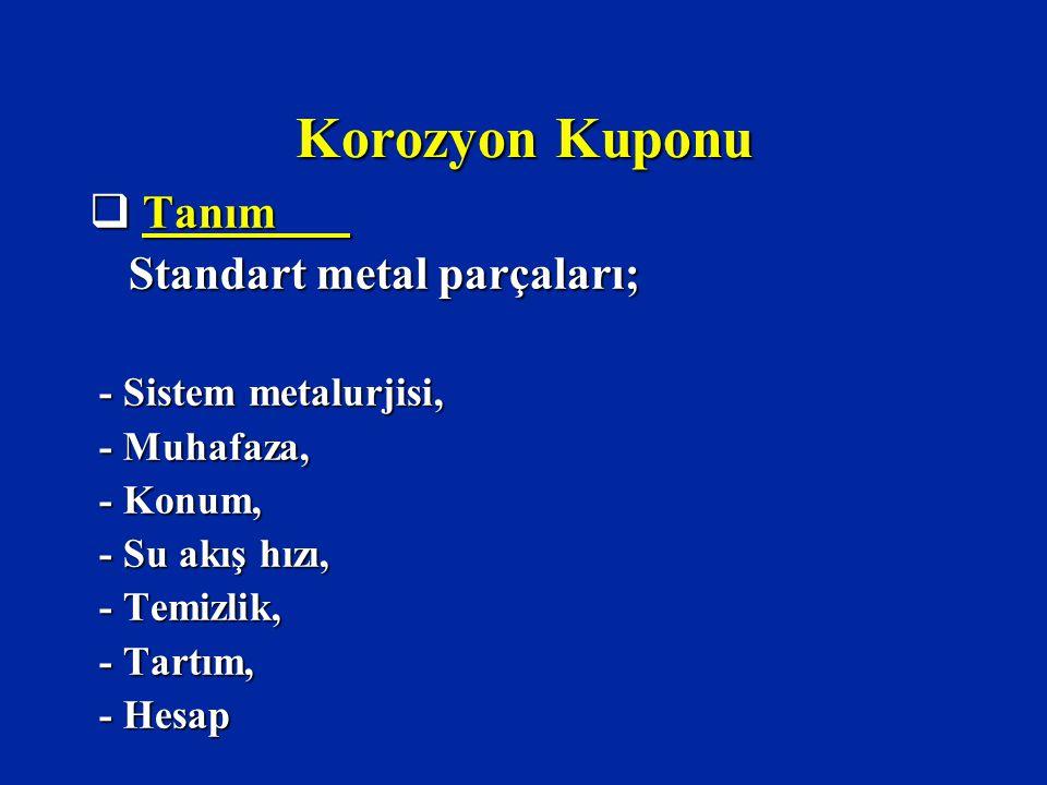 Korozyon Kuponu  Tanım Standart metal parçaları; Standart metal parçaları; - Sistem metalurjisi, - Sistem metalurjisi, - Muhafaza, - Muhafaza, - Konum, - Konum, - Su akış hızı, - Su akış hızı, - Temizlik, - Temizlik, - Tartım, - Tartım, - Hesap - Hesap