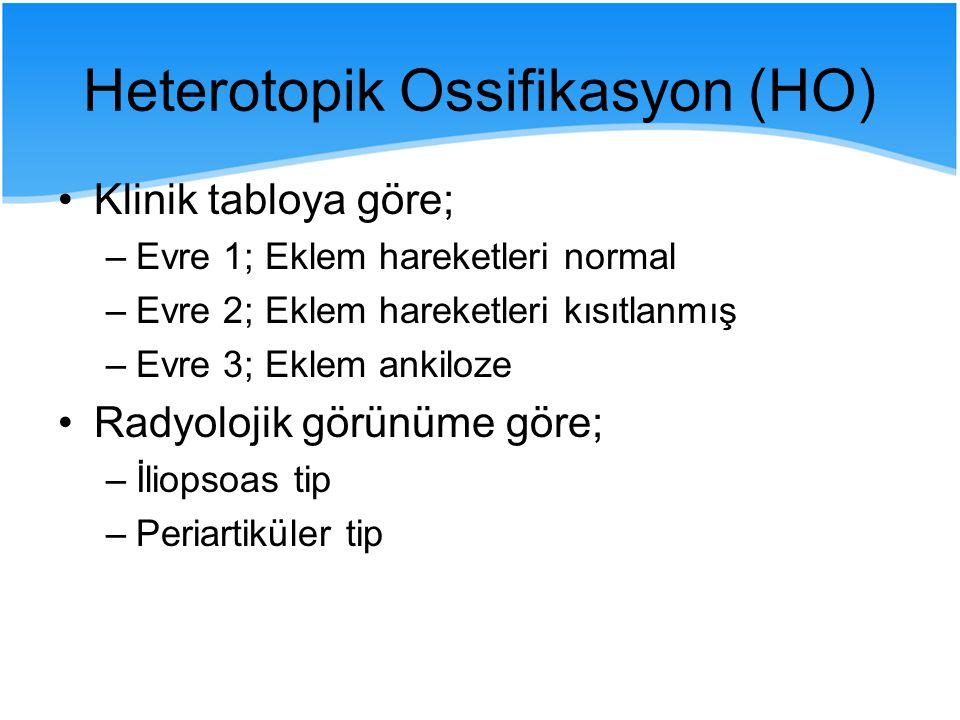 Heterotopik Ossifikasyon (HO) Klinik tabloya göre; –Evre 1; Eklem hareketleri normal –Evre 2; Eklem hareketleri kısıtlanmış –Evre 3; Eklem ankiloze Ra
