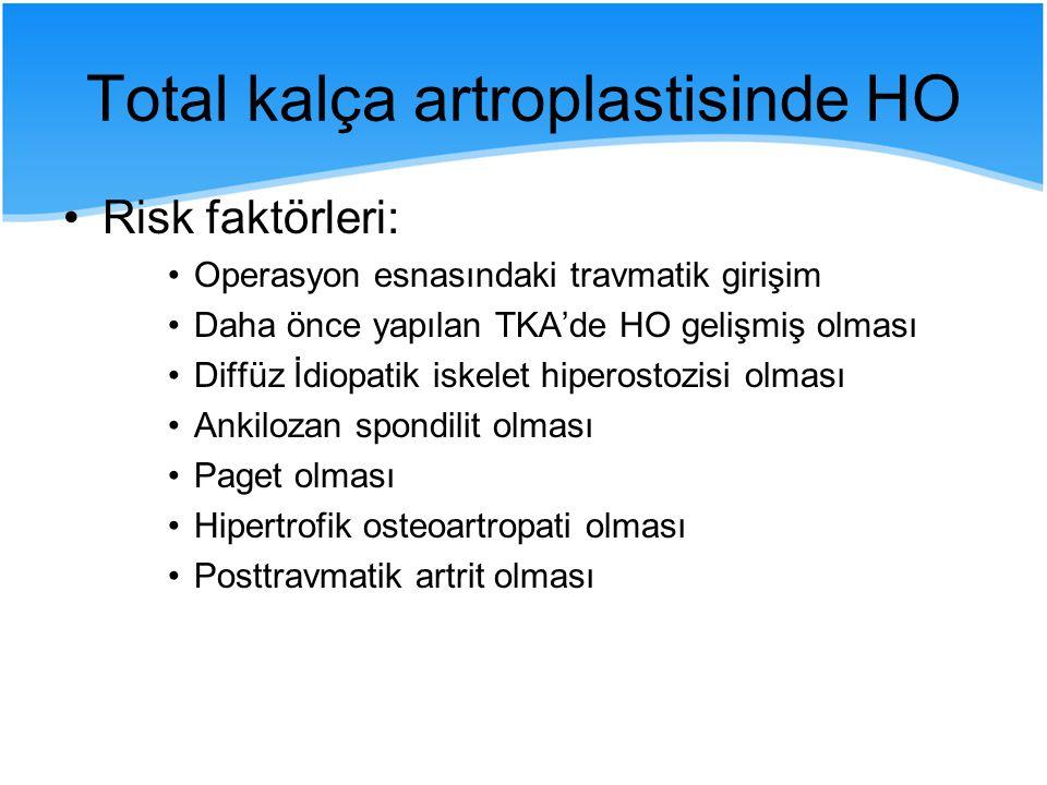 Risk faktörleri: Operasyon esnasındaki travmatik girişim Daha önce yapılan TKA'de HO gelişmiş olması Diffüz İdiopatik iskelet hiperostozisi olması Ank