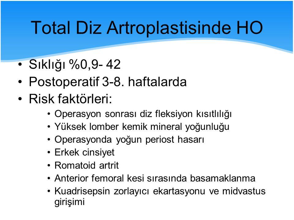 Total Diz Artroplastisinde HO Sıklığı %0,9- 42 Postoperatif 3-8. haftalarda Risk faktörleri: Operasyon sonrası diz fleksiyon kısıtlılığı Yüksek lomber