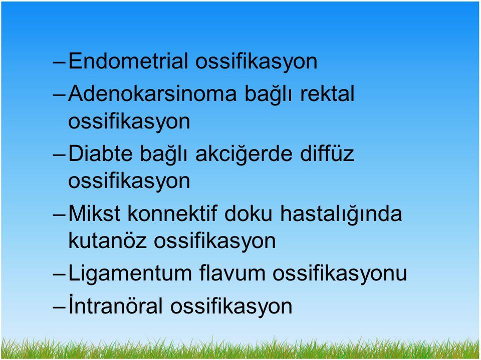 –Endometrial ossifikasyon –Adenokarsinoma bağlı rektal ossifikasyon –Diabte bağlı akciğerde diffüz ossifikasyon –Mikst konnektif doku hastalığında kut