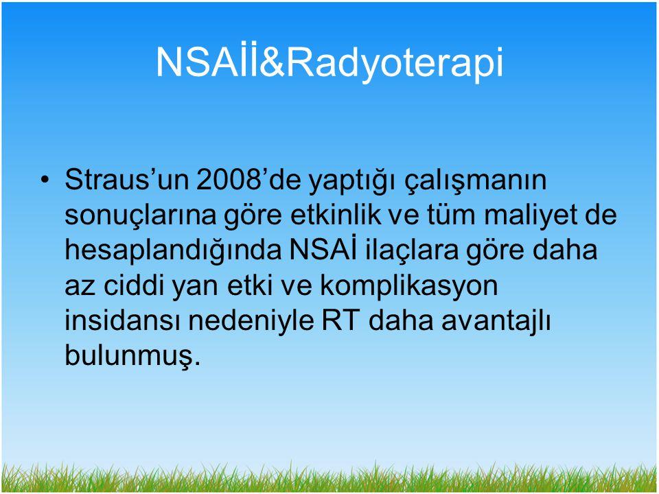 NSAİİ&Radyoterapi Straus'un 2008'de yaptığı çalışmanın sonuçlarına göre etkinlik ve tüm maliyet de hesaplandığında NSAİ ilaçlara göre daha az ciddi ya