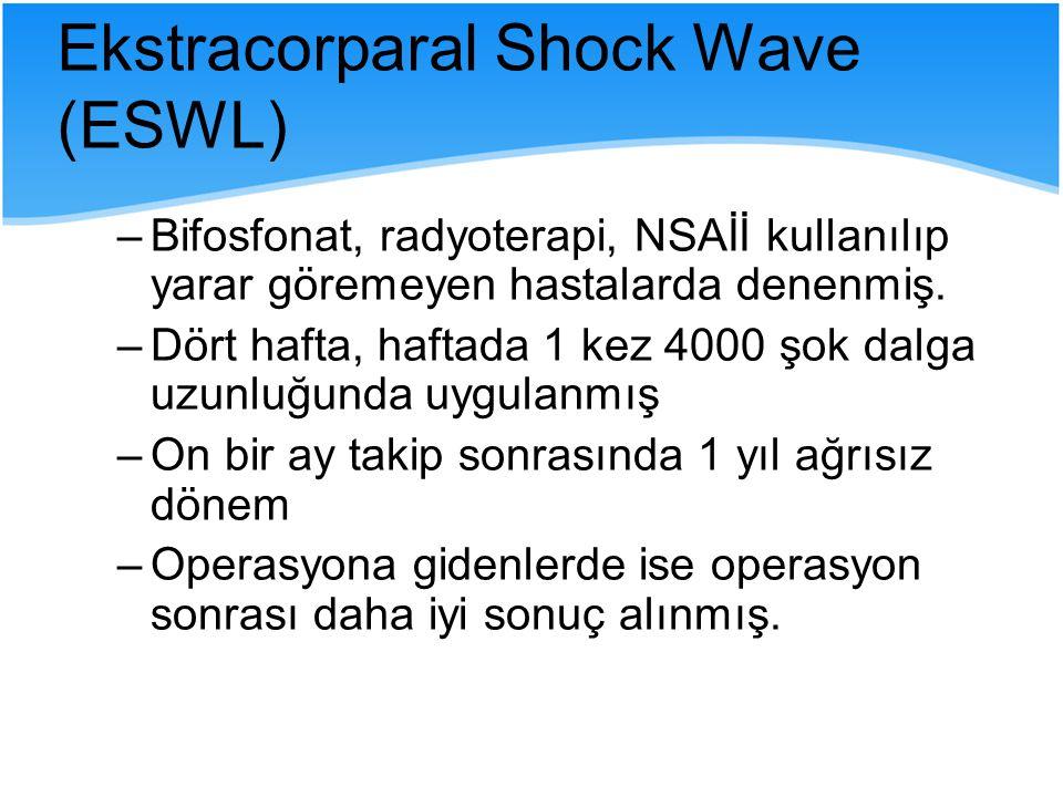 –Bifosfonat, radyoterapi, NSAİİ kullanılıp yarar göremeyen hastalarda denenmiş. –Dört hafta, haftada 1 kez 4000 şok dalga uzunluğunda uygulanmış –On b