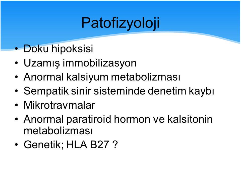 I- İndükleme safhası; Primordial mezenkim hücrelerinin faaliyeti  Radyoterapi ve NSAİİ ajanlar II- Başlangıç safhası; Progenitor hücreler  NSAİİ III- Oluşum safhası; Osteoblastlar etkilidir  Fizik tedavi IV- Kalsifikasyon safhası; Matriks prodüksiyonu  Fizik tedavi ve bifosfonatlar V- Mineralizasyon safhası; Cerrahi !!.