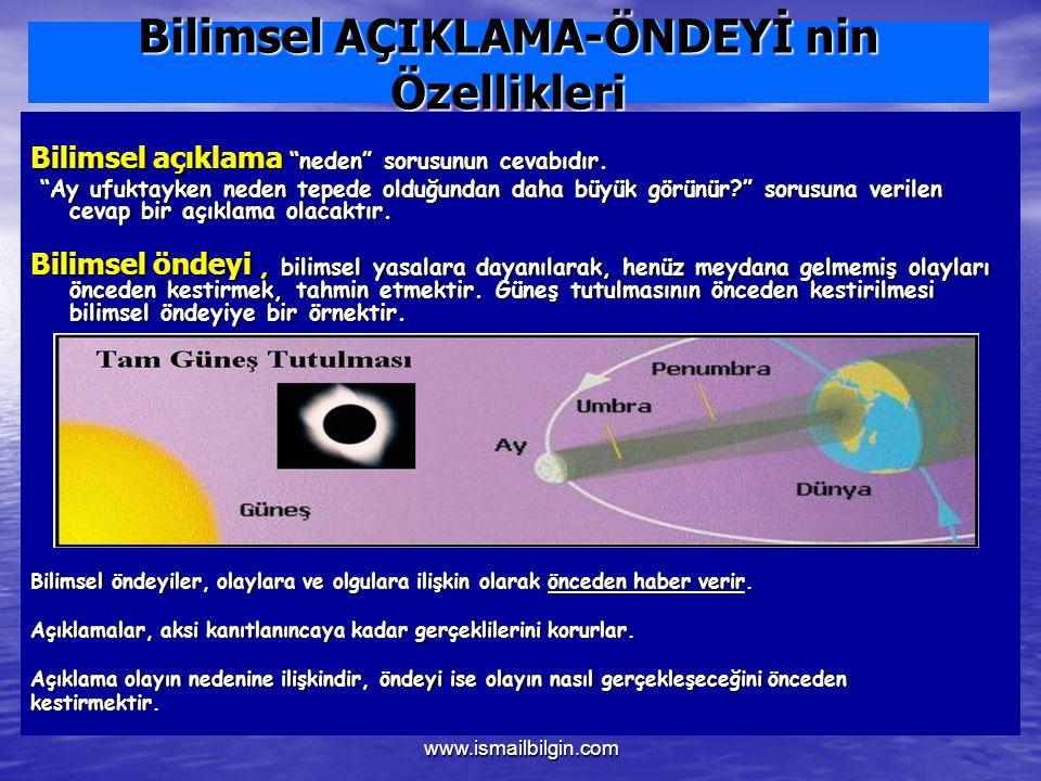 www.ismailbilgin.com Bilimsel AÇIKLAMA-ÖNDEYİ nin Özellikleri Bilimsel açıklama neden sorusunun cevabıdır.