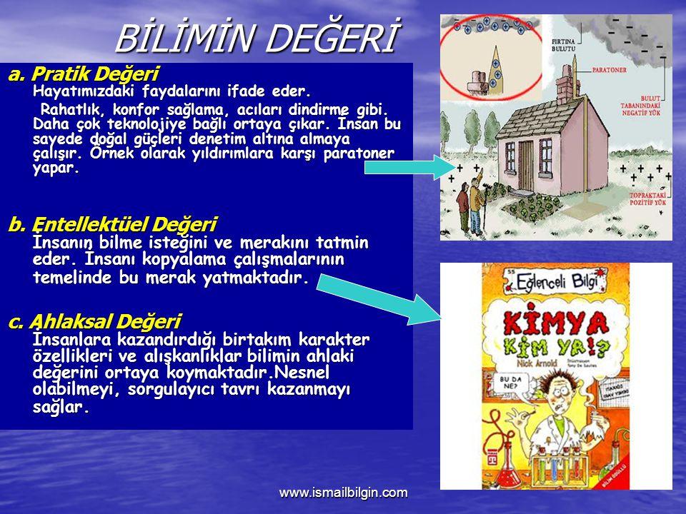 www.ismailbilgin.com BİLİMİN DEĞERİ a.Pratik Değeri Hayatımızdaki faydalarını ifade eder.