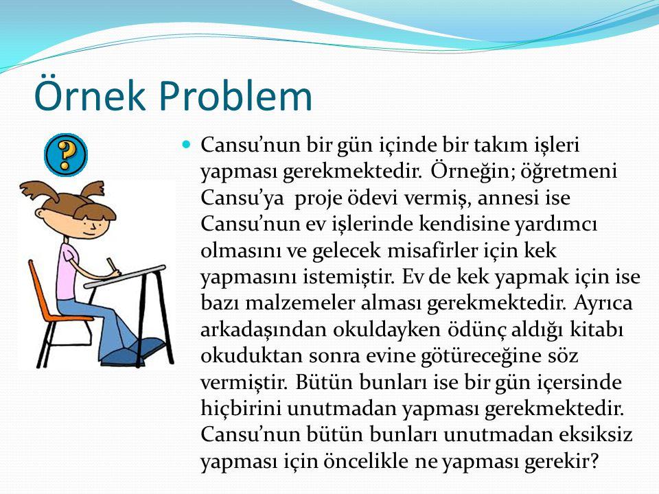 Örnek Problem Cansu'nun bir gün içinde bir takım işleri yapması gerekmektedir. Örneğin; öğretmeni Cansu'ya proje ödevi vermiş, annesi ise Cansu'nun ev