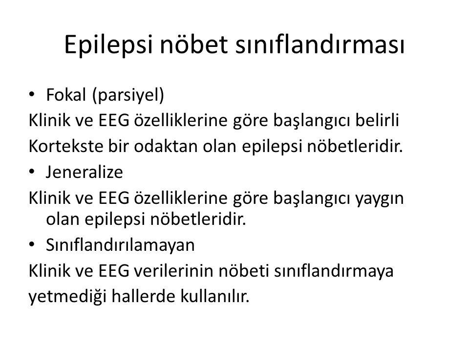 Fokal epilepsi nöbetleri Basit parsiyel epilepsi nöbetleri Komleks parsiyel epilepsi nöbetleri Sekonder jeneralize tonik klonik epilepsi nöbeti