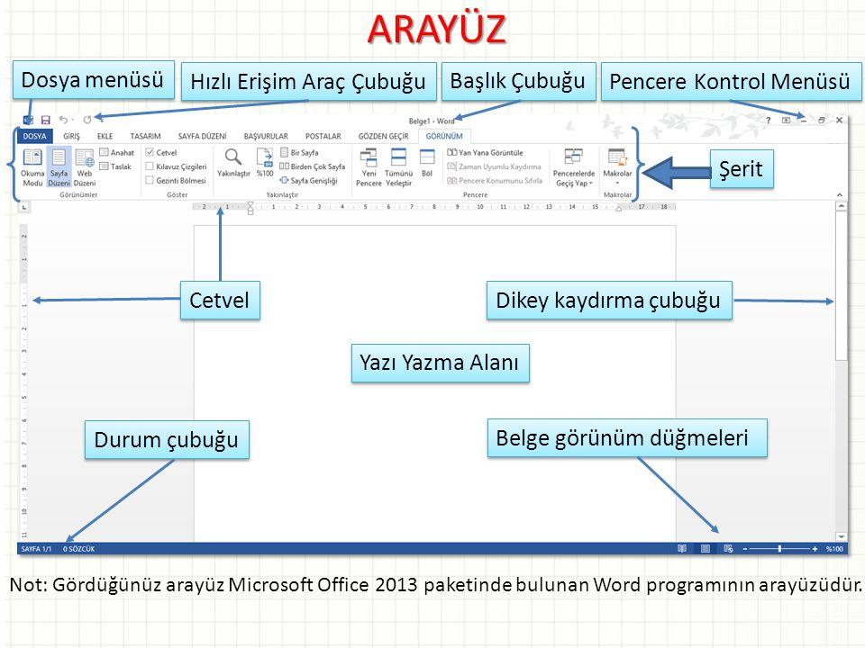 ARAYÜZ Not: Gördüğünüz arayüz Microsoft Office 2013 paketinde bulunan Word programının arayüzüdür. Dosya menüsü Hızlı Erişim Araç Çubuğu Başlık Çubuğu