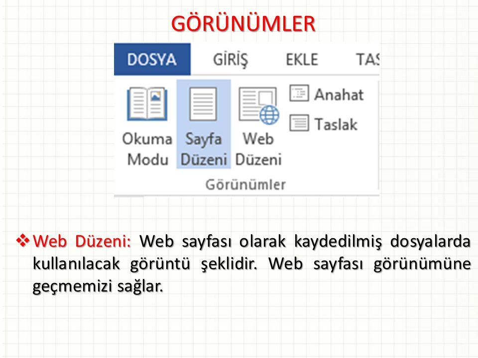 GÖRÜNÜMLER  Web Düzeni: Web sayfası olarak kaydedilmiş dosyalarda kullanılacak görüntü şeklidir. Web sayfası görünümüne geçmemizi sağlar.