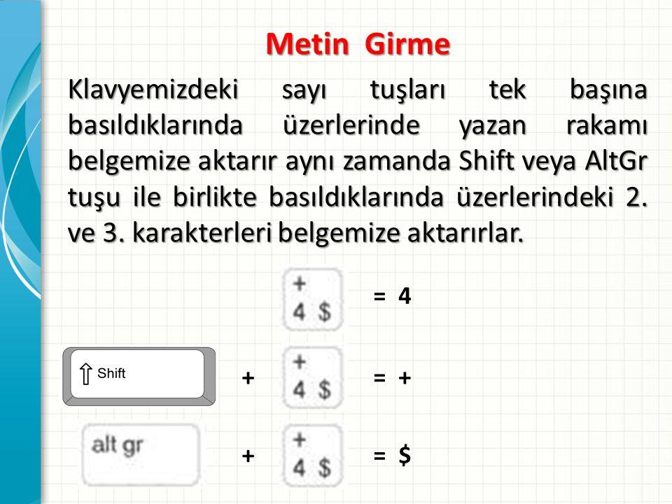 Metin Girme Klavyemizdeki sayı tuşları tek başına basıldıklarında üzerlerinde yazan rakamı belgemize aktarır aynı zamanda Shift veya AltGr tuşu ile bi