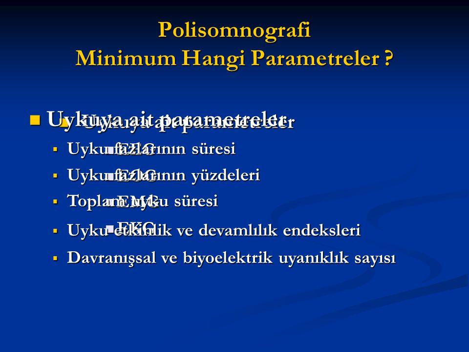 Polisomnografi Minimum Hangi Parametreler ? Uykuya ait parametreler Uykuya ait parametreler EEG EEG EOG EOG EMG EMG EKG EKG Uykuya ait parametreler Uy