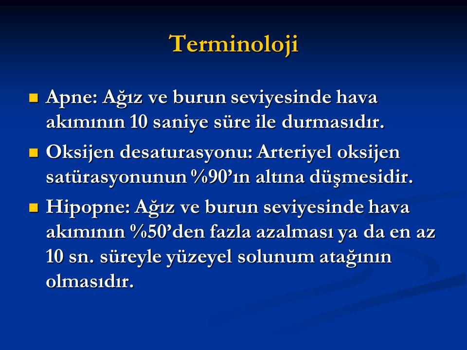 Terminoloji Apne: Ağız ve burun seviyesinde hava akımının 10 saniye süre ile durmasıdır. Apne: Ağız ve burun seviyesinde hava akımının 10 saniye süre
