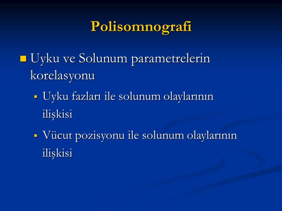 Polisomnografi Uyku ve Solunum parametrelerin korelasyonu Uyku ve Solunum parametrelerin korelasyonu  Uyku fazları ile solunum olaylarının ilişkisi 