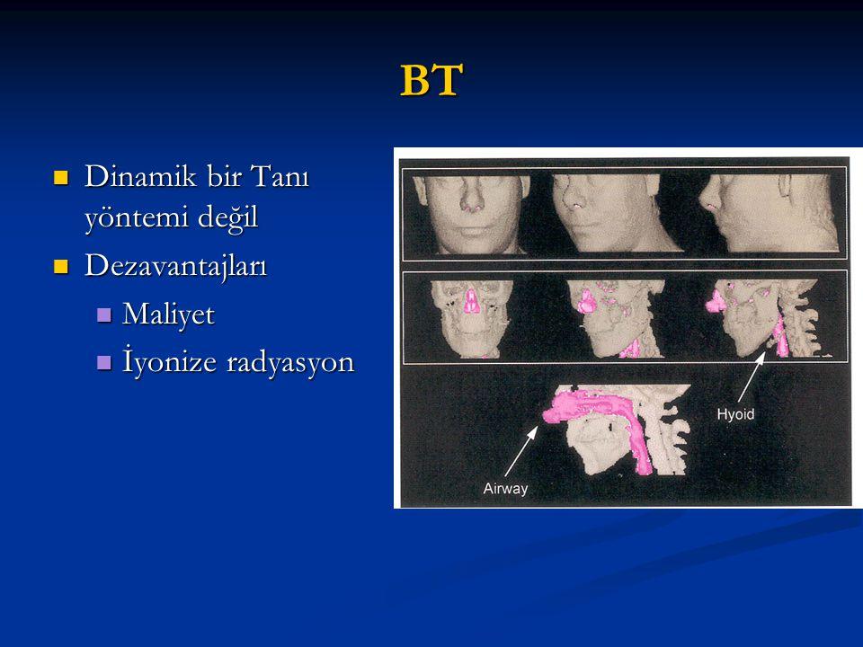 BT Dinamik bir Tanı yöntemi değil Dinamik bir Tanı yöntemi değil Dezavantajları Dezavantajları Maliyet Maliyet İyonize radyasyon İyonize radyasyon