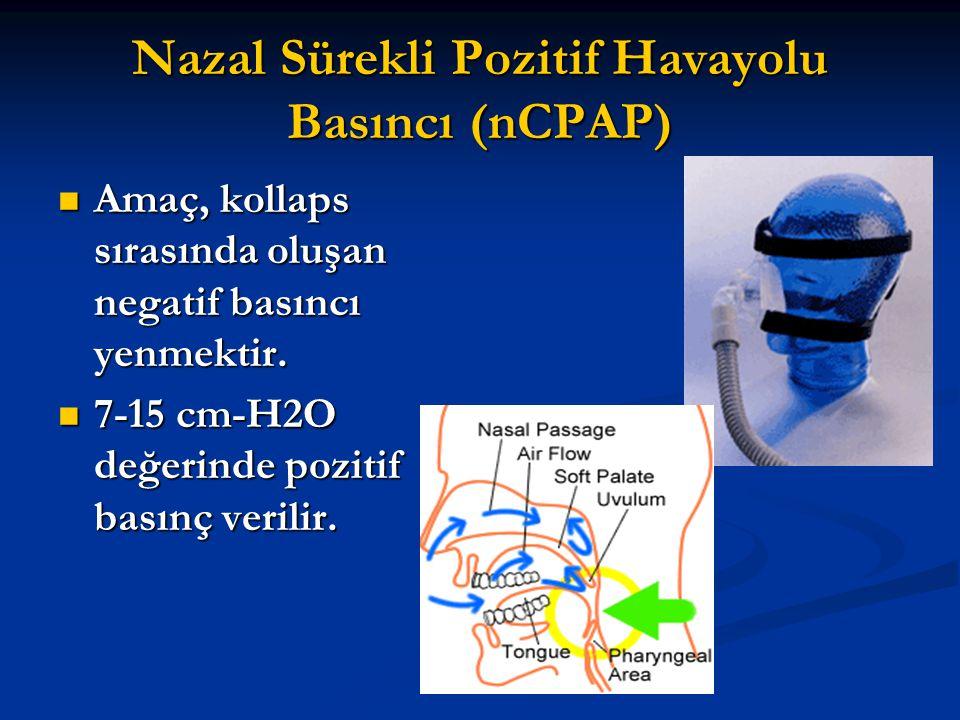 Nazal Sürekli Pozitif Havayolu Basıncı (nCPAP) Amaç, kollaps sırasında oluşan negatif basıncı yenmektir. Amaç, kollaps sırasında oluşan negatif basınc