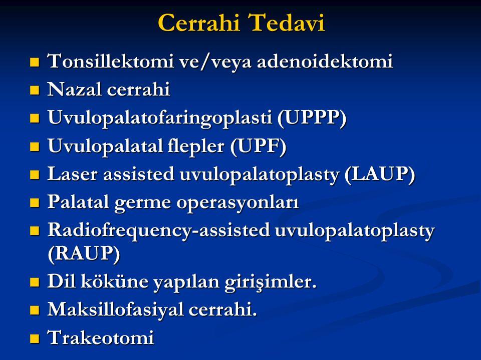 Cerrahi Tedavi Tonsillektomi ve/veya adenoidektomi Tonsillektomi ve/veya adenoidektomi Nazal cerrahi Nazal cerrahi Uvulopalatofaringoplasti (UPPP) Uvu